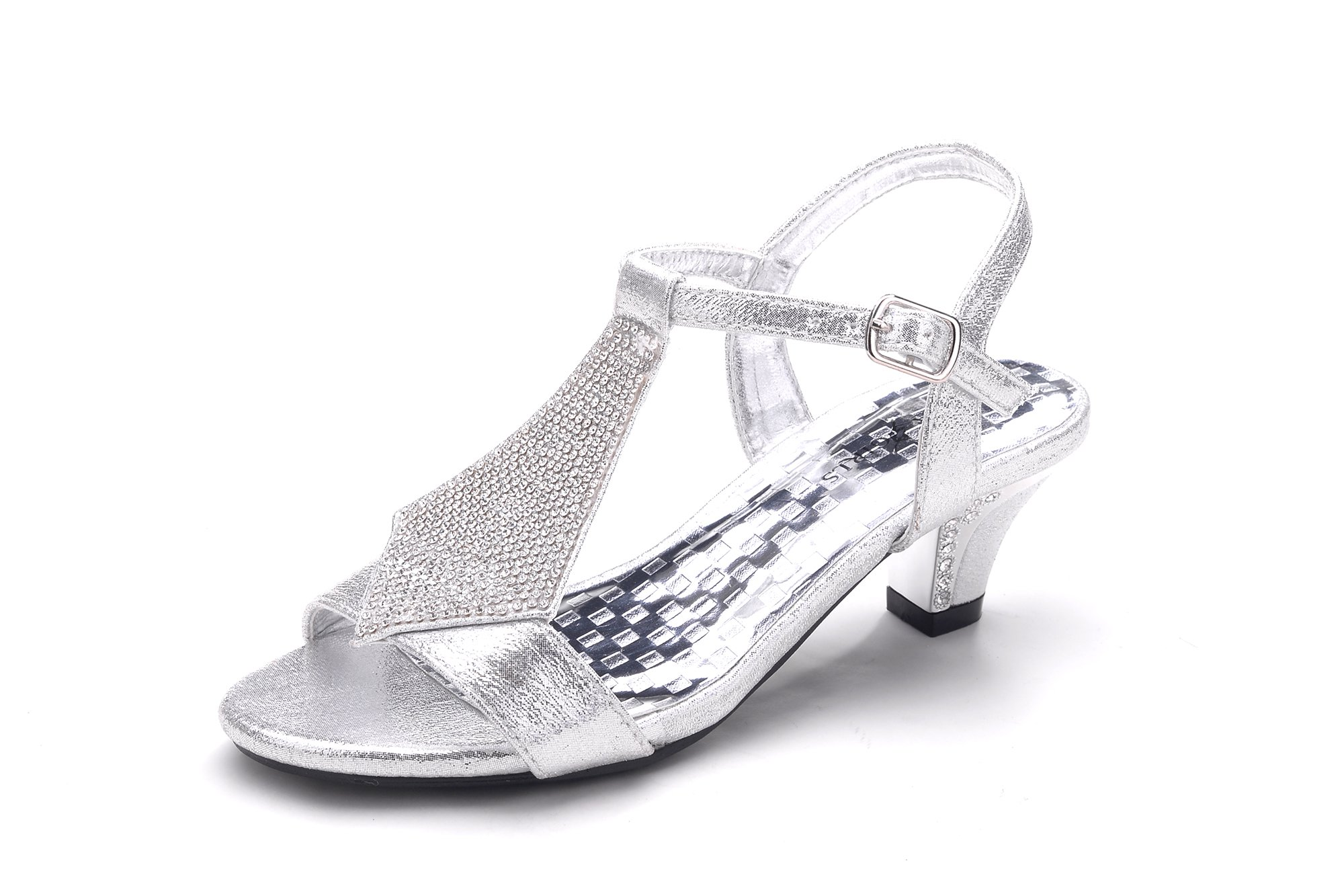Sparkle Little Girl's Rhinestone Dress Little Heel Party Shoes (CK80) SILVER12 by Greens (Image #1)