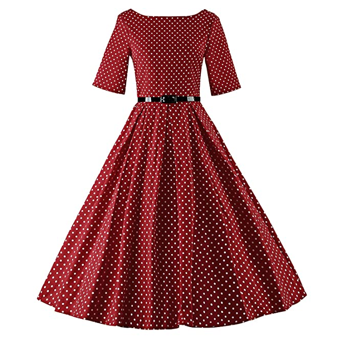 LUOUSE - Vestido - Noche - Manga corta - para mujer rojo V075-WineRed XL