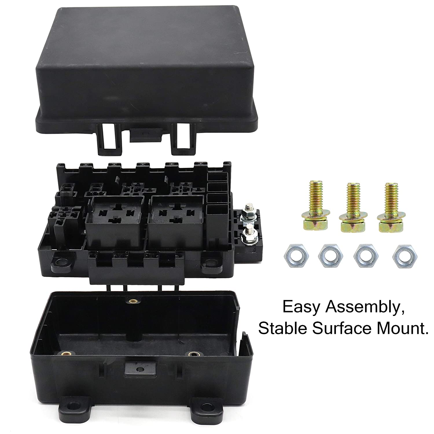 21 Slot Relay Fuse Box Ato Atc Holder With Car Integrated Battery Relays And Fusespade Terminals For Automotive Trailer Marine Use