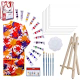 Paint Easel Kids Art Set- 28-Piece Acrylic Painting Supplies Kit with Storage Bag, 12 Non Toxic Washable Paints, 1…