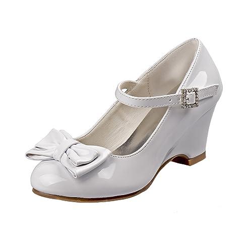 f62f7258d22 Josmo Girls Wedge Heel Dress Shoe Rhinestone Buckle Bow (Little Kid, Big  Kid)