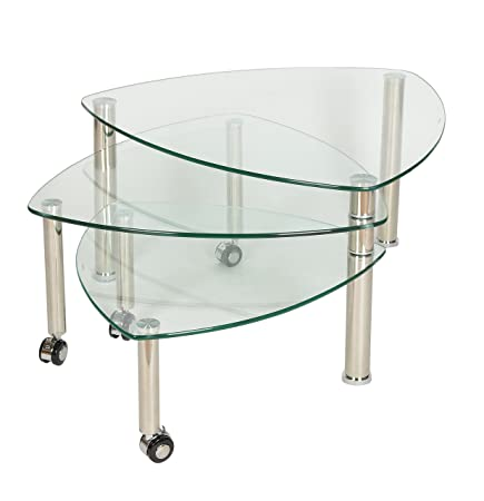 Ts Ideen Set Of 3 Triangular Glass Tables Coffee Tables With