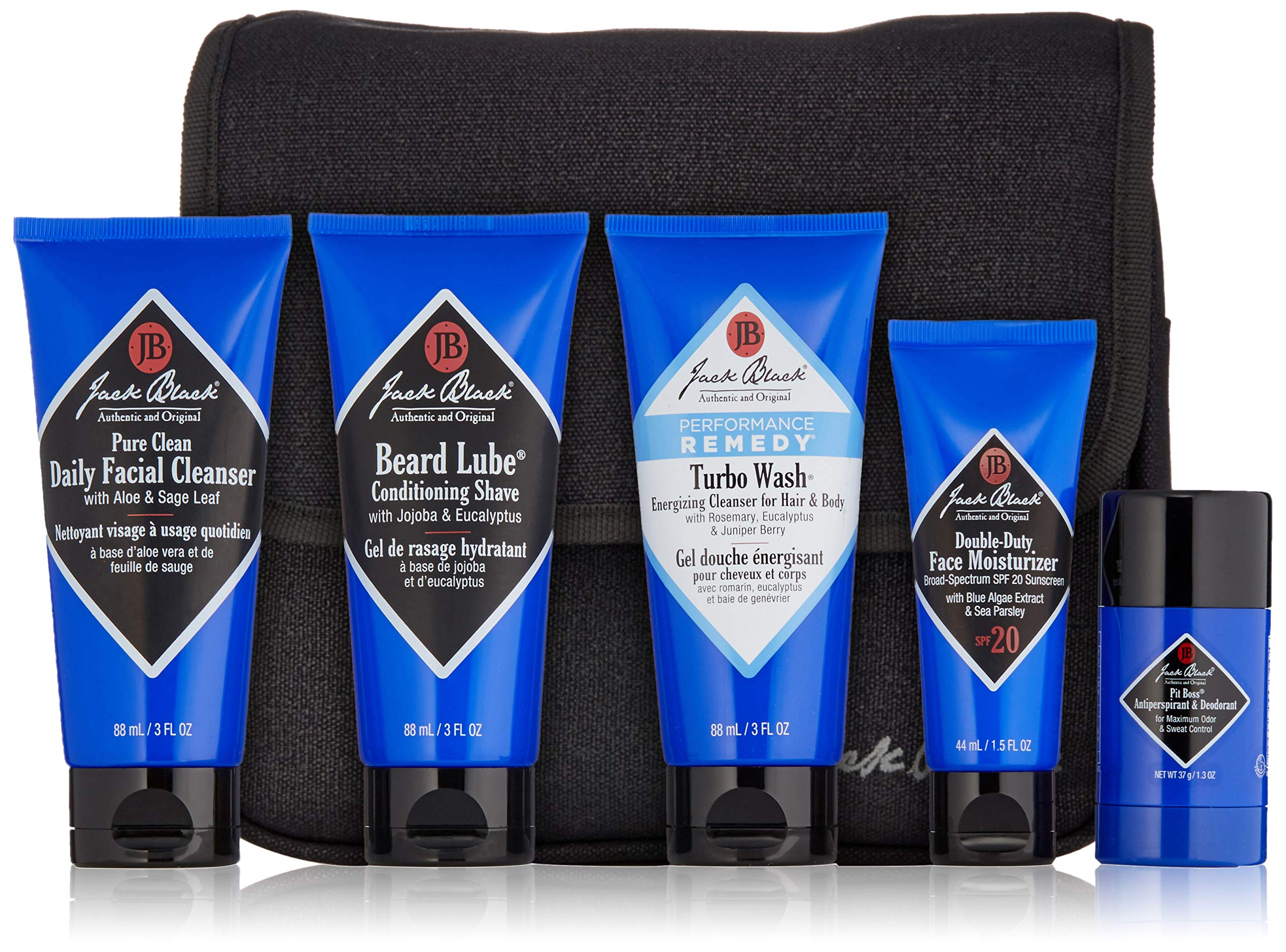 Jack Black - The Grand Tour - Pit Boss Antiperspirant & Deodorant, Double-Duty Face Moisturizer SPF 20, Beard Lube Conditioning Shave, Pure Clean Daily Facial Cleanser, Turbo Wash Energizing Cleanser