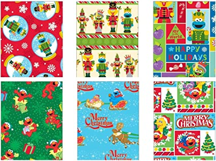 Amazon Com Premium Christmas Gift Wrap Juvenile Wrapping Paper Bulk For Boys Girls Kids Includes 6 Different 5ft X 30in Rolls Of Xmas Sesame Street Oscar Elmo Zoe Abbey Cadabby Cookie Monster