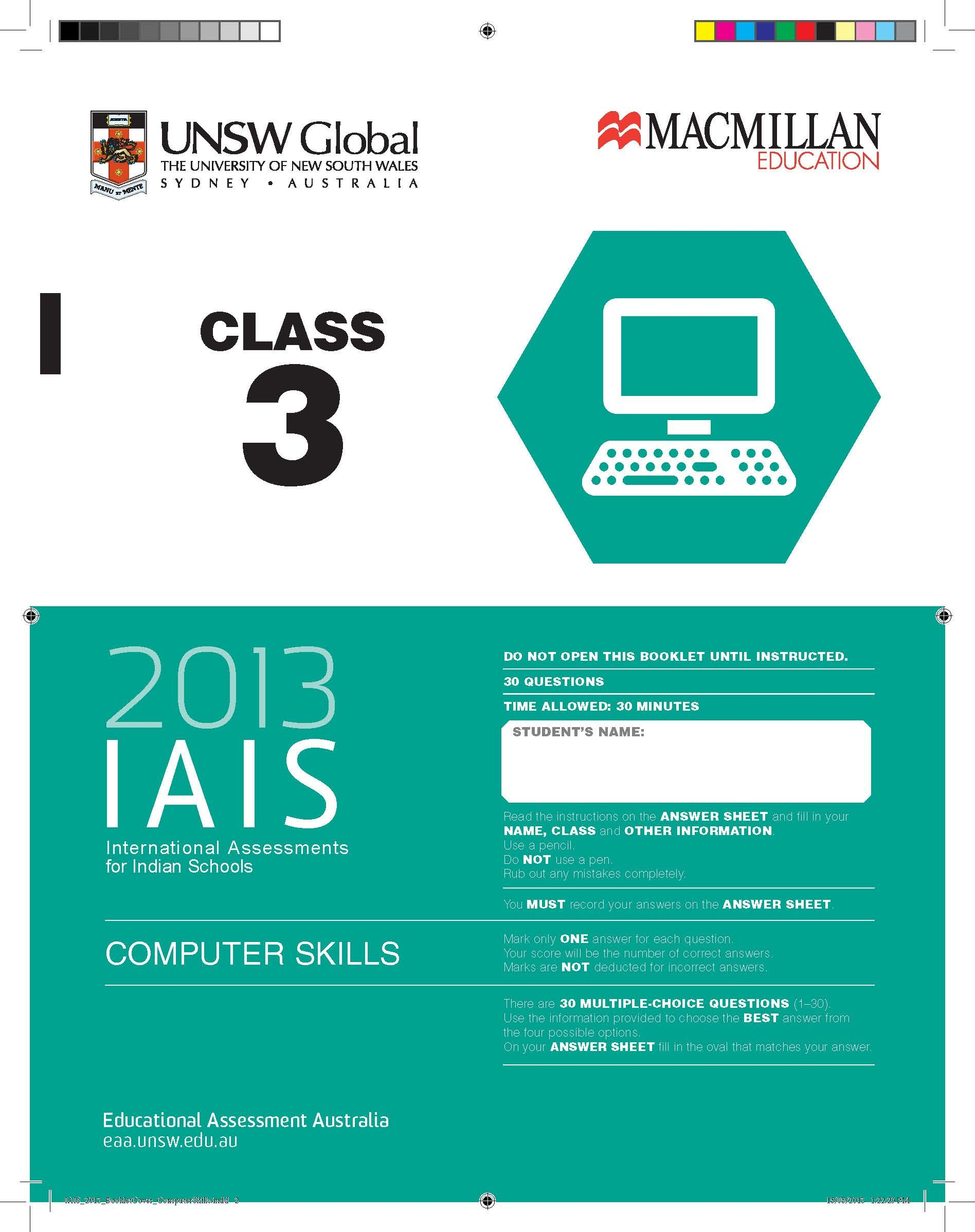 Buy IAIS Question Paper Computer Skills - 3 (2013): Class 3 Book ...