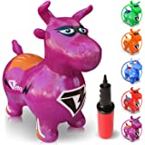 WALIKI TOYS Bouncy Horse Hopper, Pump Included (Benny the Jumping Bull Inflatable Hopping Animal, Riding Horse for Kids, Hoppy Horse, Ride-on Hopper Horse, Purple, for Toddlers)