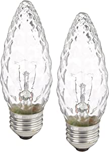 GE Lighting 40891 40-Watt 350-Lumen Decorative B13 Incandescent Light Bulb, Crystal Clear, 2-Pack