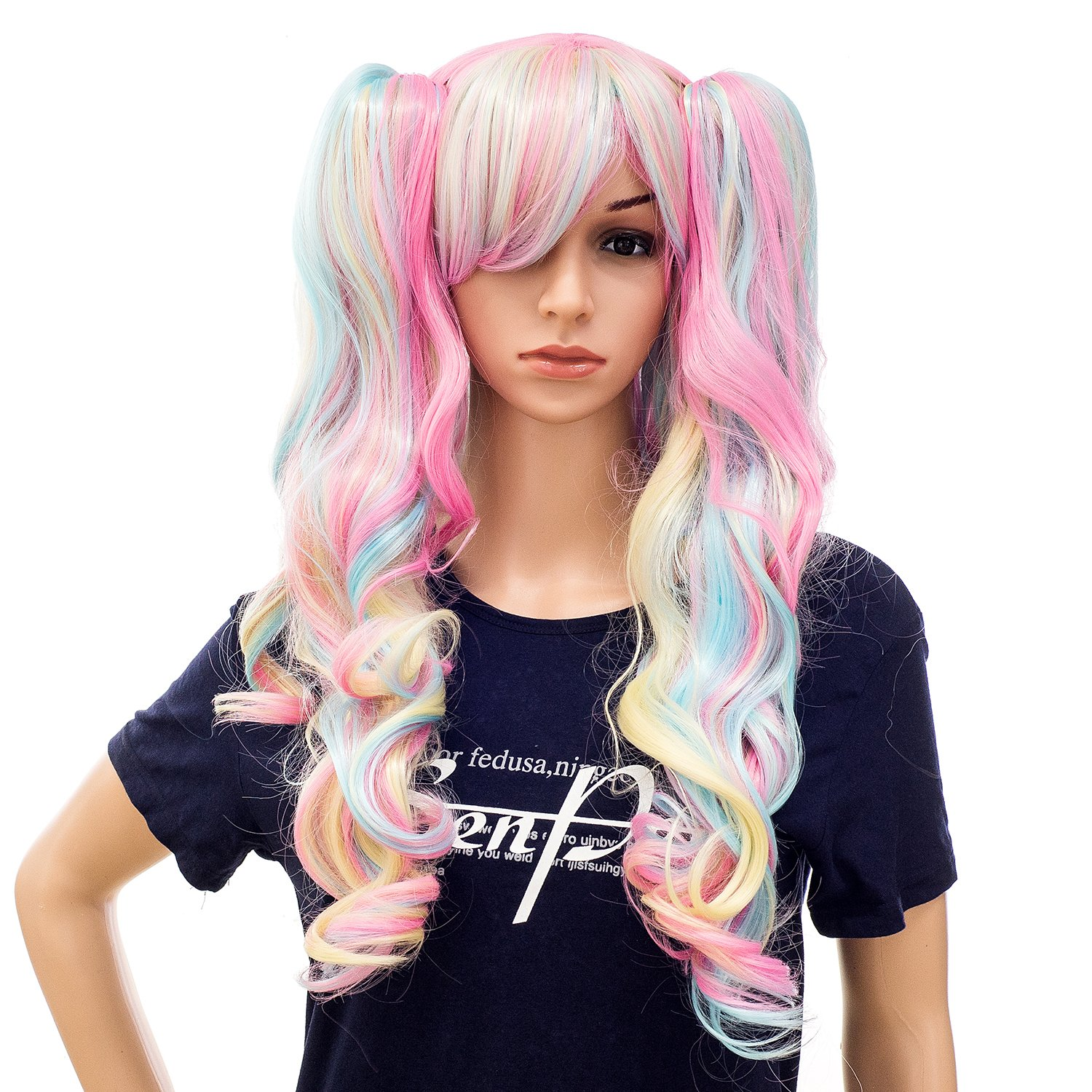 SWACC Long Curly Double Claw Clip on Ponytail Wig Synthetic Pastel Colorful Cosplay Daily Party Wig for Women and Kids with Wig Cap (Multi-Color Pink/Blue/Blonde-3) by SWACC