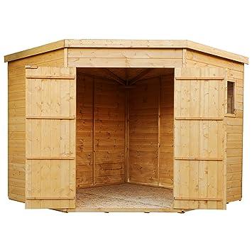 8 X 8 en bois rainure et languette d\'angle Abri de jardin, Windows ...