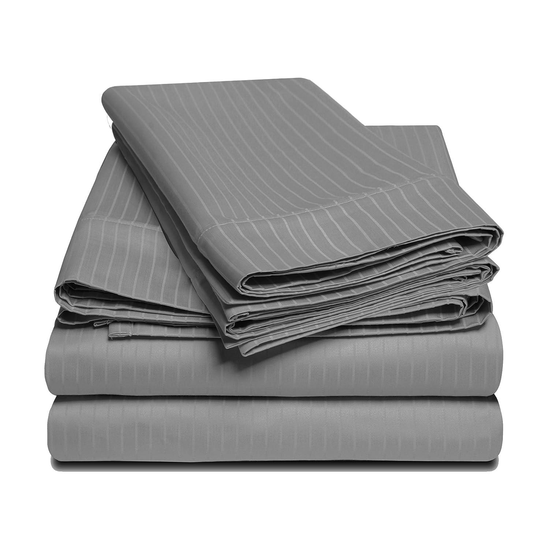 Grey California King 100% Egyptian Cotton 1000 Thread Count Oversized King Sheet Set Stripe, gold