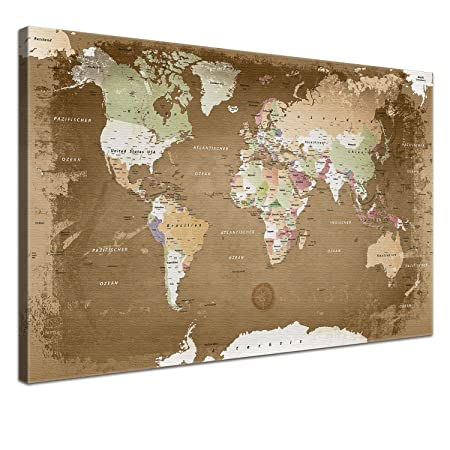 Lanakk old style world map canvas print on stretcher frame with cork lanakk old style world map canvas print on stretcher frame with cork back brown gumiabroncs Gallery