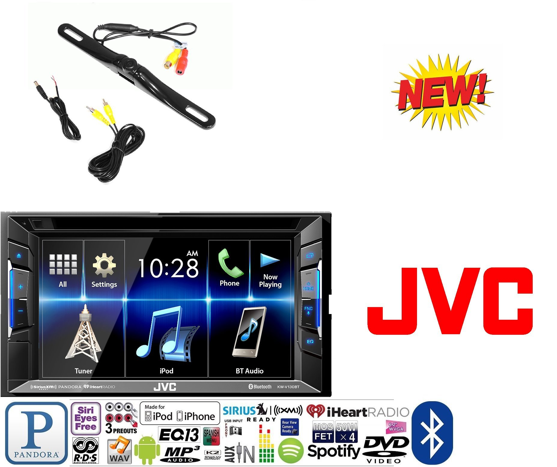 JVC KW-V130BT Double DIN Bluetooth in-Dash DVD/CD/AM/FM Car Stereo w/ 6.2'' Clear Resistive Touchscreen + CAM-600 License Plate Bolt-On Rear View Camera w/Built-in I.R. Camera by JVC