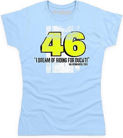Shotdeadinthehead Valentino Rossi Camiseta, para Mujer, Azul Celeste, L: Amazon.es: Ropa y accesorios