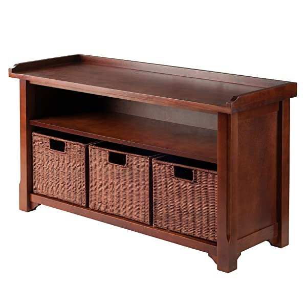 Winsome Wood MilanWood Storage Bench in Antique Walnut Finish with Storage Shelf and 3 Rattan Baskets in Antique WalnutFinish