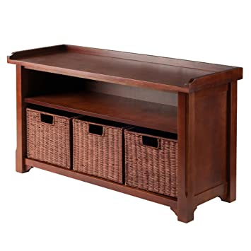 Winsome Wood MilanWood Storage Bench In Antique Walnut Finish With Storage  Shelf And 3 Rattan Baskets