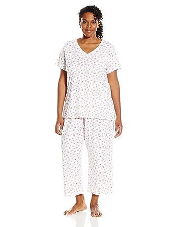 Carole Hochman Women's Plus-Size Cotton Capri Pajama, Tropic Ditsy ...
