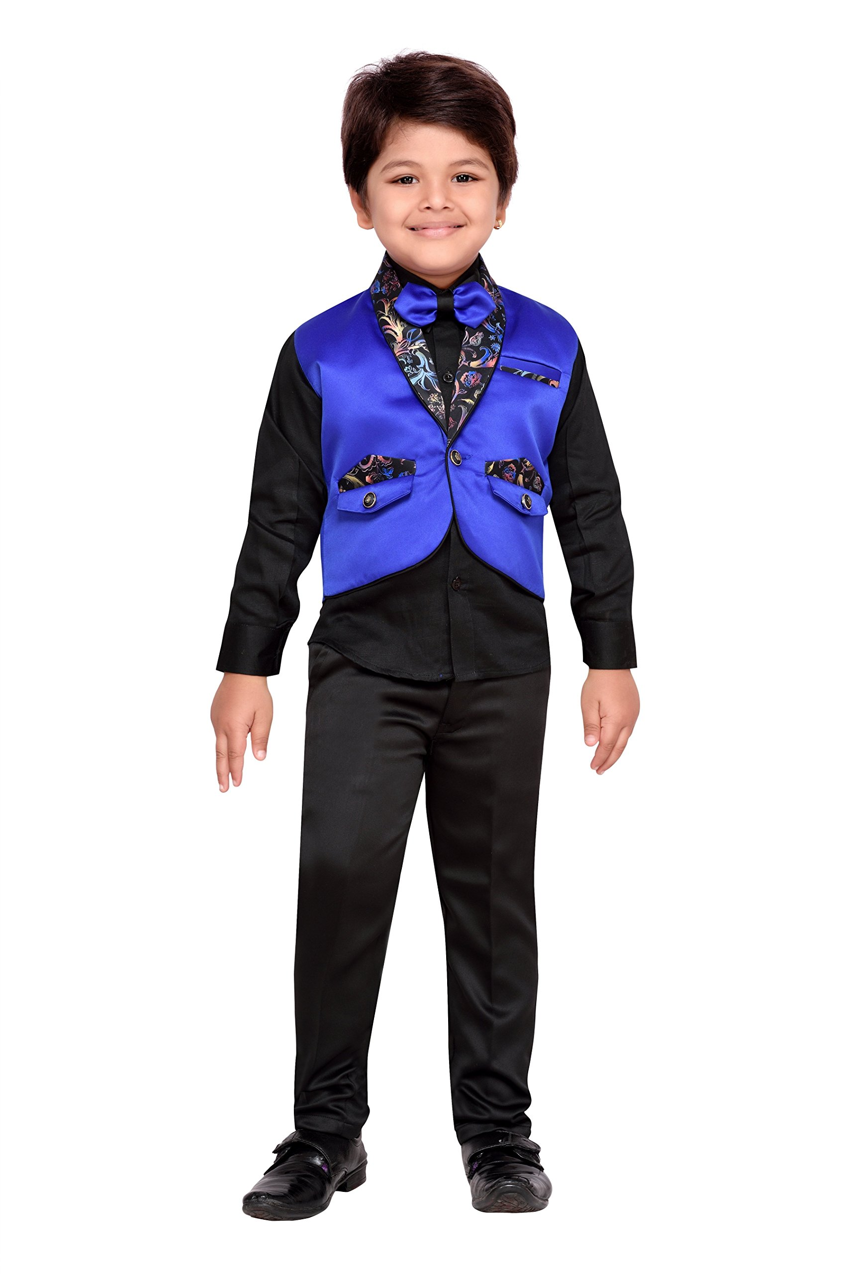AJ Dezines Kids Indian Wear Bollywood Style Shirt Waistcoat and Pant Clothing Set for Boys (806-BLUE-4)
