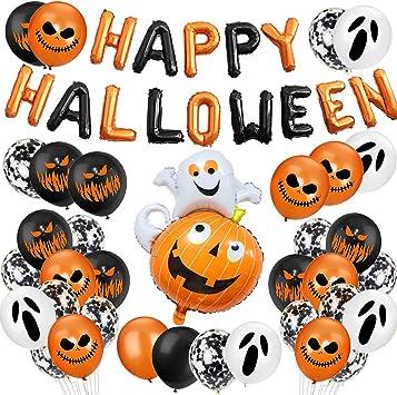 3 Globo de l/átex,Globos de Calabaza,Halloween de decoraci/ón del hogar,Pumpkin Ghost Foil Balloon Sunshine smile Decoraci/ón de Fiesta de Halloween Set