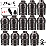 SooFoo E27 Medium Light Socket, Metal Shell Edison Retro Pendant Lamp Holder For Lamp Socket And Fixture Replacement, Industrial Vintage DIY Projects, 12-Pack