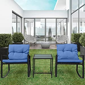 Pyramid Home Decor 3-Piece Rocking Bistro Set - Durable & Stylish Synthetic Wicker Outdoor Furniture - Glass Coffee Table with 2 Chairs for Balcony, Patio & Porch - Black Metal, Navy Blue Cushions