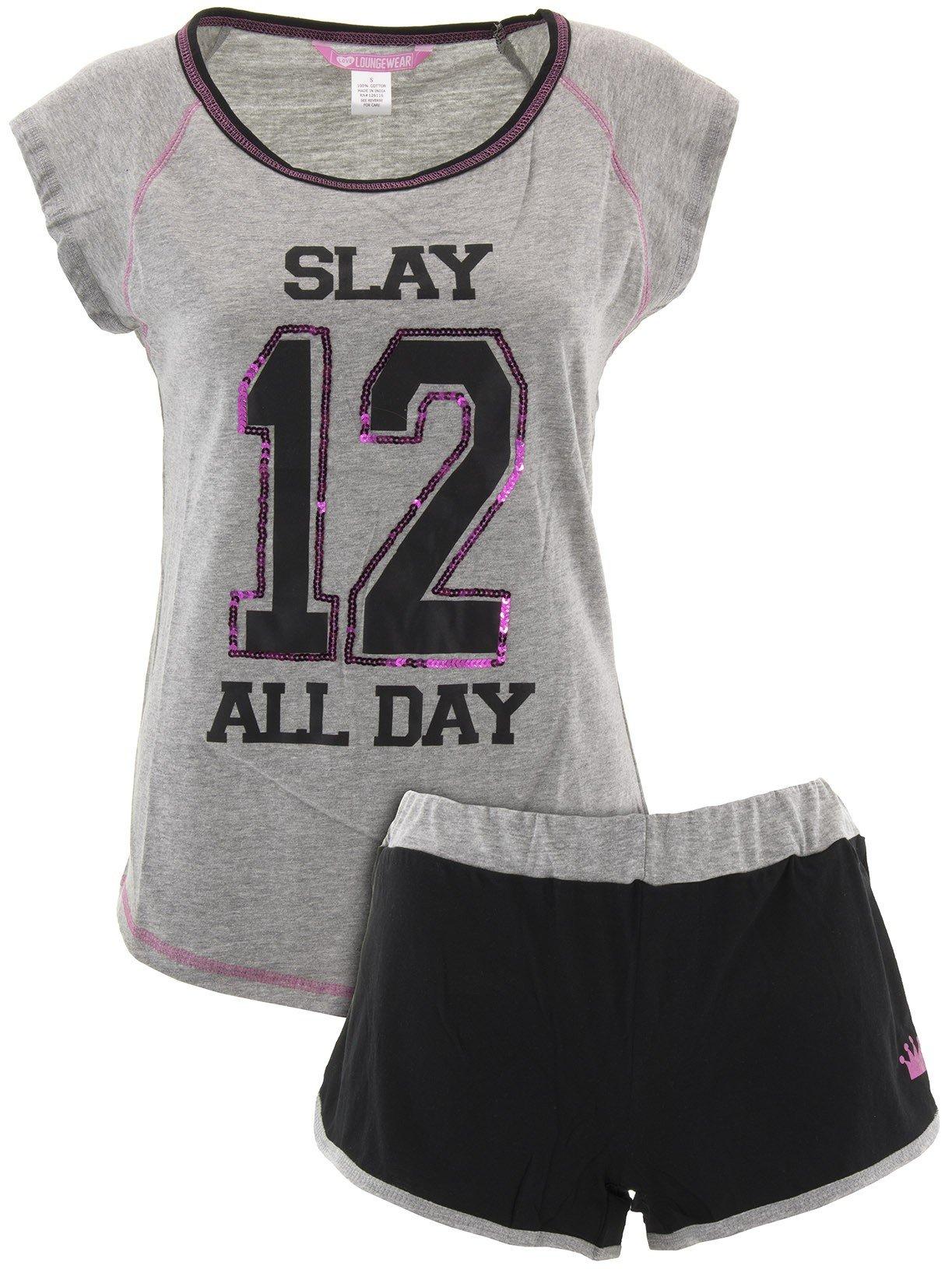 Love Loungewear Juniors Slay All Day Gray Shorty Pajamas M