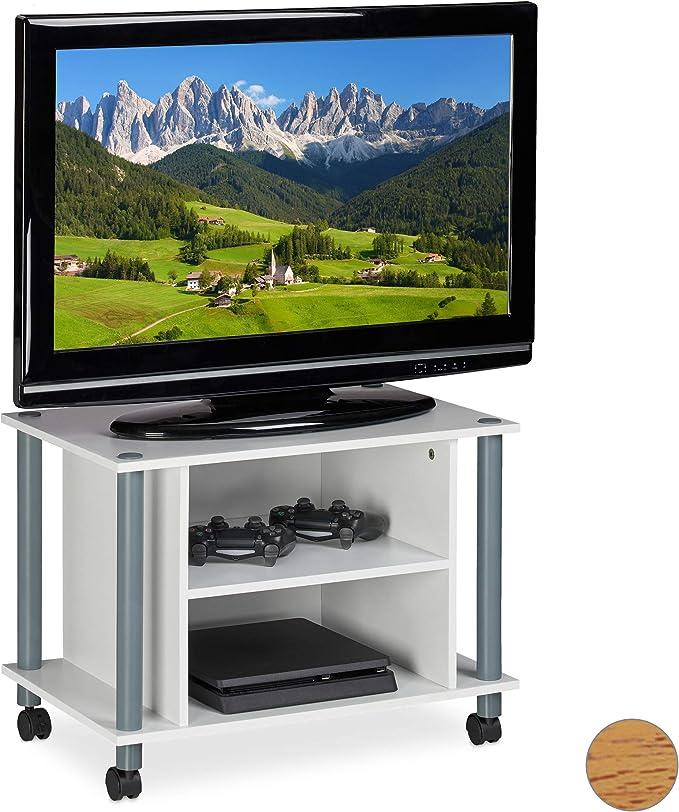 Relaxdays Mueble TV con Ruedas, Mesa televisión con 2 ...