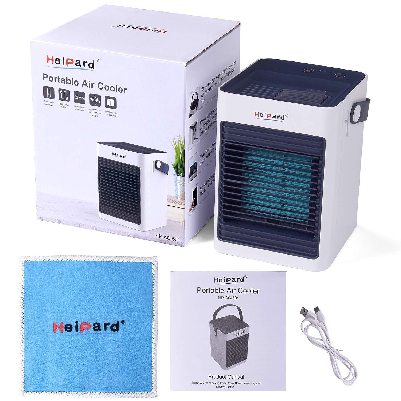 HeiPard Mini Luftk/ühler Luftreiniger USB Air Cooler Mobil Klimaanlage Luftbefeuchter Auslaufsicher Tischl/üfter Tragbare Raumluftk/ühler AuslaufsicherDesinfizierung f/ür B/üro Garage und Haus,8.5 inch