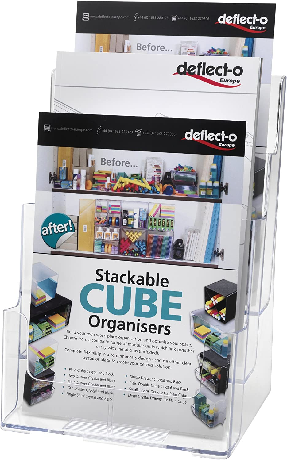 "Deflecto Multi-Compartment Docuholder, Countertop or Wall Mount, 3-Tiered Literature Holder, Large Size, Clear, 9-1/2""W x 12-5/8""H x 8""D (77301)"