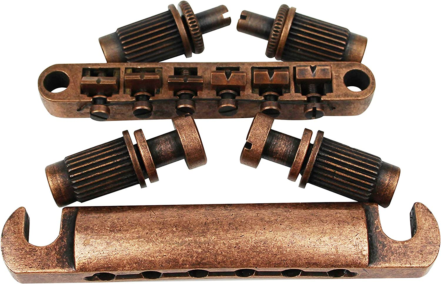Bronze Tune-O-Matic Bridges Replacement for LP SG EPI 6 String Electric Guitar Guyker Guitar Roller Saddle Bridge and Tailpiece Combo