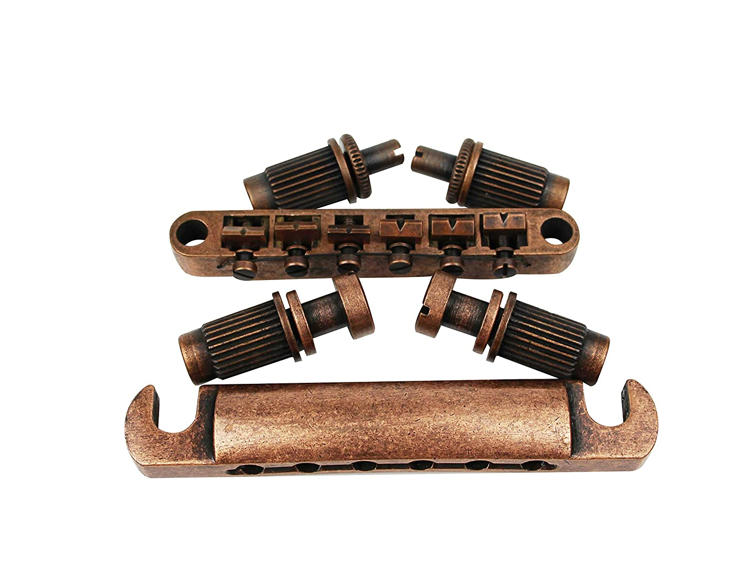 Bronze Guyker Guitar Roller Saddle Bridge and Tailpiece Combo Tune-O-Matic Bridges Replacement for LP SG EPI 6 String Electric Guitar