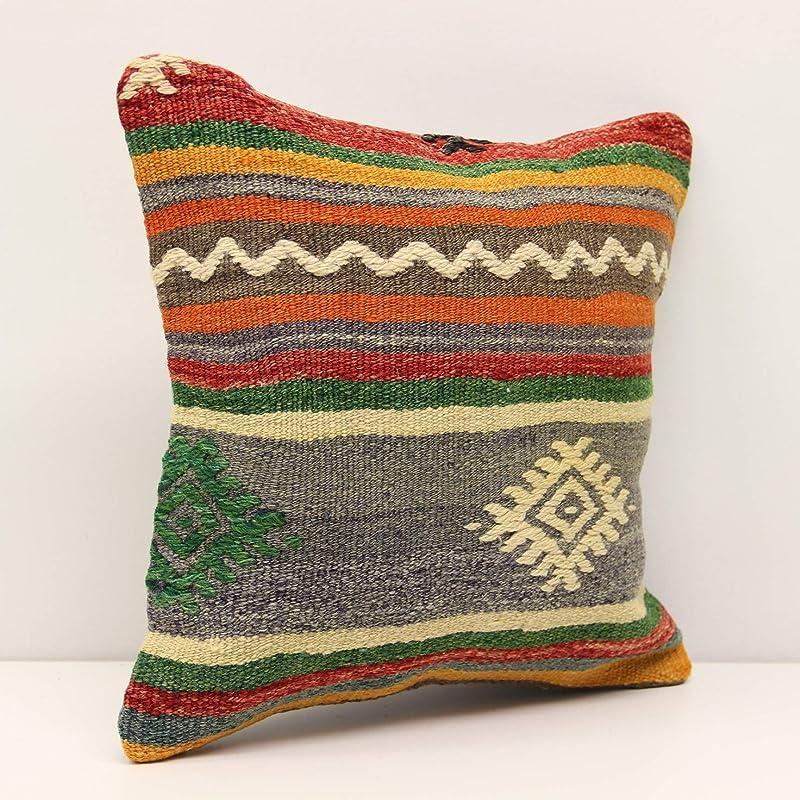 Handwoven Turkish Kilim Pillow Handmade Pillow Anatolian Carpet Pillow 14x14 Kilim Pillow Kilim Pillow Cover Boho Tribal Decor A1325