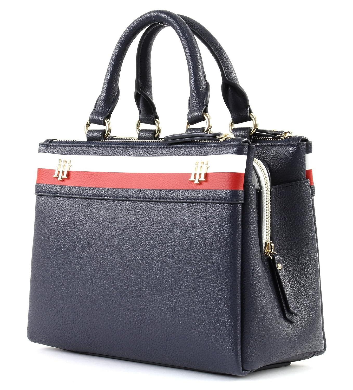 252311a66aeb3 Tommy Hilfiger Cool Hardware M Satchel Blau Damen Handtasche Umhänge Tasche  Schultertasche Taschen AW0AW04988-902 Blau  Amazon.de  Bekleidung