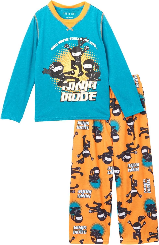 Komar Kids Boy's Ninja Mode 2 Piece Pajama Set, Kids Sizes 4-16