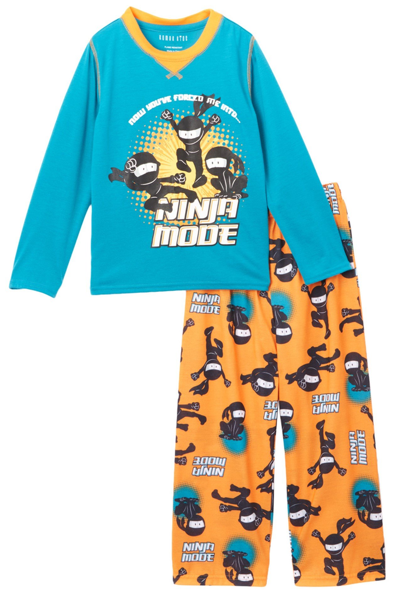 Komar Kids Boy's Ninja Mode 2 Piece Pajama Set, Kids Size M(8)