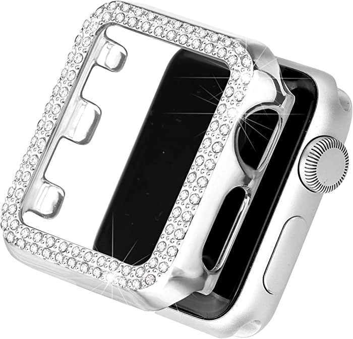 Secbolt Bling Case Compatible with Apple Watch 42mm, Full Cover Bumper Screen Protector for iWatch Series 3 2 1 (Silver-42mm)