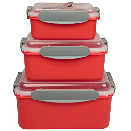 Amazoncom Microwave Food Storage Containers Set of 3 Nesting