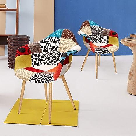 Vadim Stuhl Esszimmerstuhl Patchwork Wohnzimmerstühle Mehrfarbige Sessel Mit Rückenlehne Leinen Stoff Holz Stil Metallbeine 2 Stück Bunt