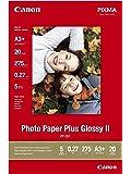 Canon 2311B021 Paper Plus Glossy Carta Fotografica II PP201 A3+ 20 Fogli, 330 x 483mm