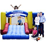 [Upgrade Version] PicassoTiles KC102 12x10 Foot Inflatable Bouncer Jumping Bouncing House, Jump Slide, Dunk Playhouse w/ Basketball Rim, 4 Sports Balls, Full Size Entry, Extended Slider, 525W Blower