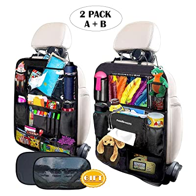 FUNFLOWERS Car Backseat Organizer Kick Mats Car Seat Back Protectors with Touch Screen Tablet Holder Storage Pockets Toy Bottle Drink Vehicle Travel Accessories for Kid Baby Toddler(2 Pack): Home Improvement