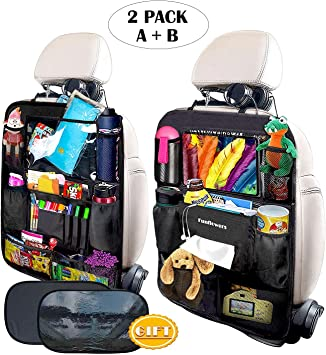 10 Touch Screen Tablet Holder Universal for Kids Toy Bottle Drink Vehicles Travel Accessories 2 Packs Car Seat Back Protector Kick Mats with Multi Storage Pockets Car Backseat Organizer