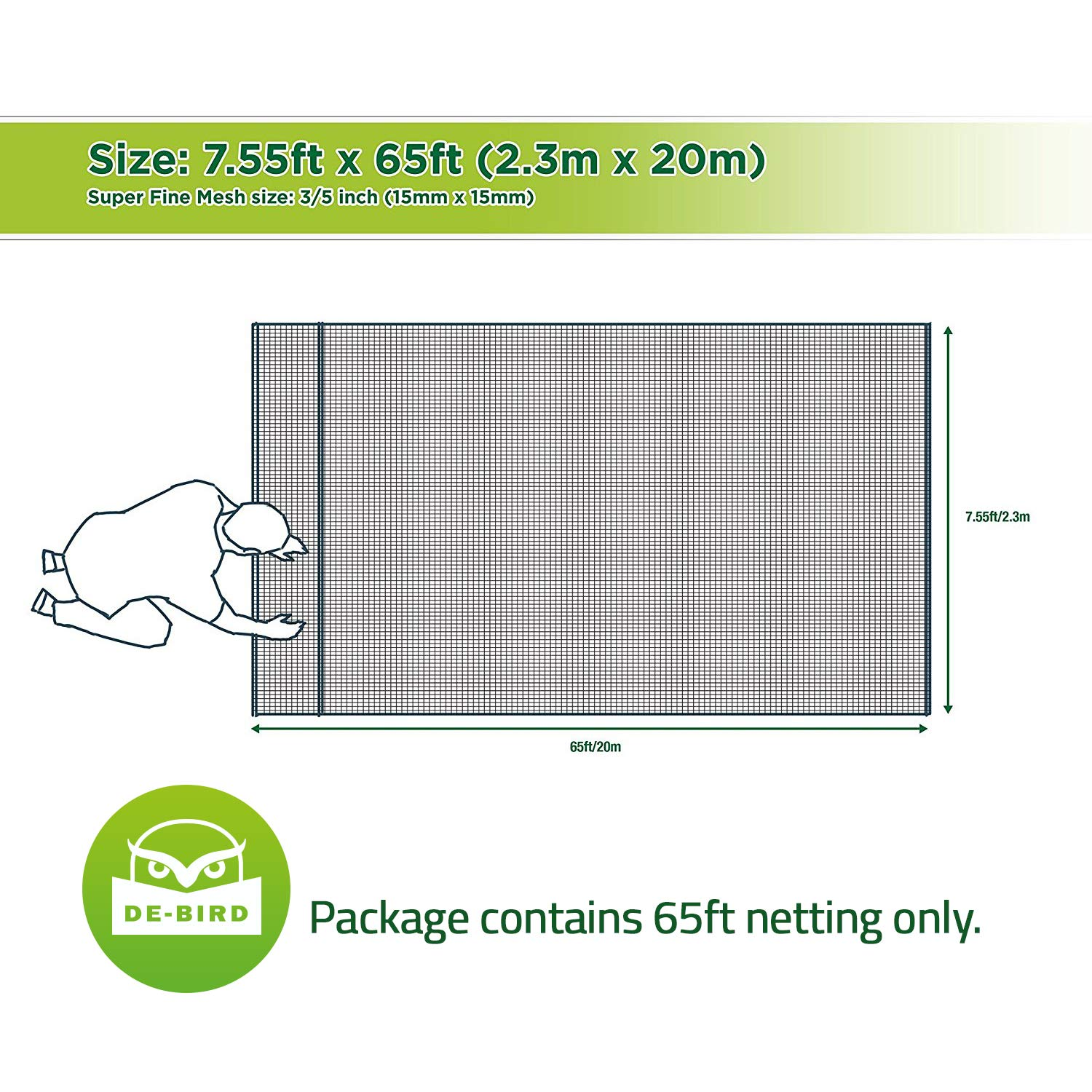Bird Netting [Heavy Duty] Protect Plants and Fruit Trees - Extra Strong Garden Net is Easy to Use, Doesn't Tangle and Reusable - Lasting Protection Against Birds, Deer and Other Pests (7.5x65 Foot) by De-Bird (Image #5)