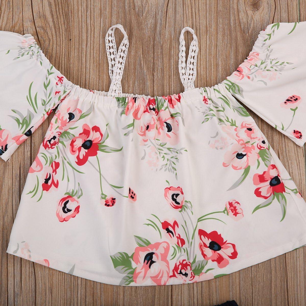 HBER 0-24M Baby Toddler Girl Summer Clothes Floral Off Shoulder Tank Tops Short Pants Outfits Sets