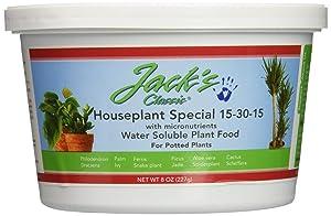 J R Peters Inc Jacks 51508 Classic 15-30-15 Houseplant Special Fertilizer, 8-Ounce