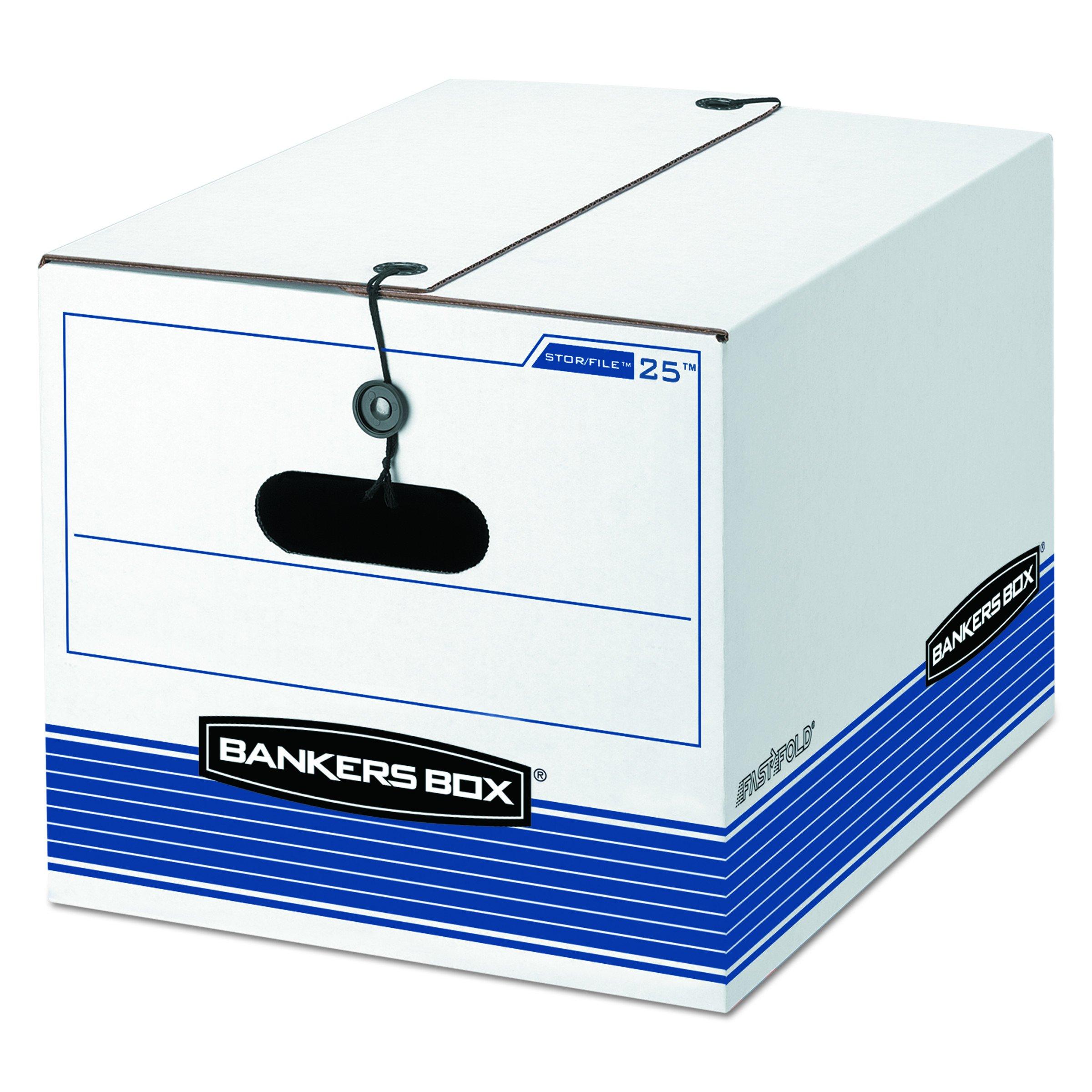 Bankers Box 0002501 Storage Box, Legal/Letter, Tie Closure, White/Blue, 4/Carton