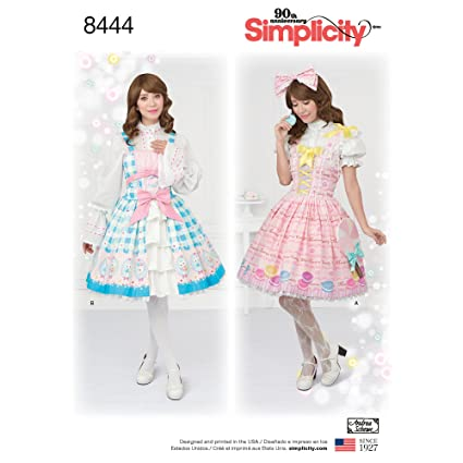 Amazon.com: Simplicity Pattern 8444 P5 Misses\' Lolita Costume for ...