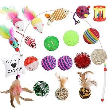 Funpet Juguetes para Gatos, Juguete para Gatos Que Incluye Gato ángel, Ball Ball Mouse Interactivo Juego de variedades con Plumas: Amazon.es: Productos para ...