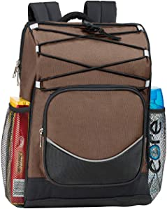 Backpack Cooler Backpack Insulated, Hiking backpack coolers, travel backpack Great soft cooler bag for Backpacking, picking bag, beach bag, lunch bag for women and men, holds 20 cans Brown soft cooler
