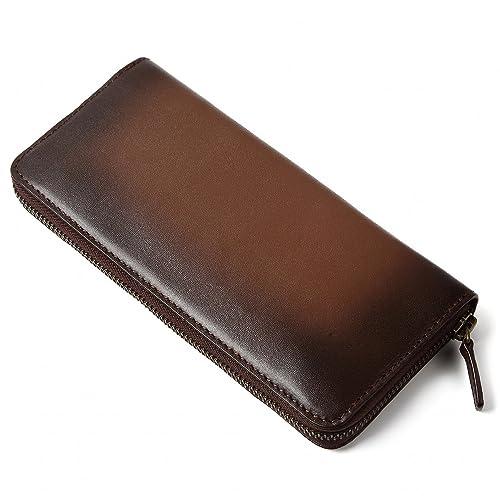 Raffaello 一流の革職人が作る スフマート製法で染色したメンズラウンドファスナー長財布