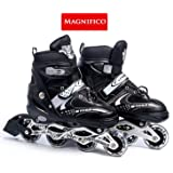 MAGNIFICO 4 Wheel in-Line Skating Shoes with Adjustable Length (38-43) for Boys & Girls.